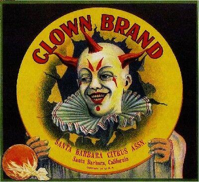 Santa Barbara Clown Orange Citrus Crate Label Art Print