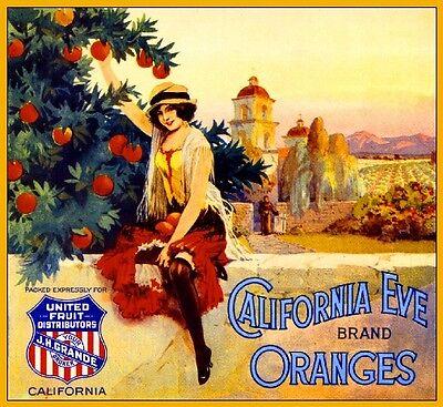 Los Angeles California Eve Mission Orange Citrus Fruit Crate Label Art Print Mission Orange Label