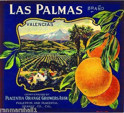 Fullerton Placentia Las Palmas Orange Citrus Fruit Crate Label Art Print