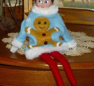 Ugly Christmas Sweater Accessories (CHRISTMAS ELF PROP... Ugly Sweater Gingerbread MAN..FOR ON THE SHELF)
