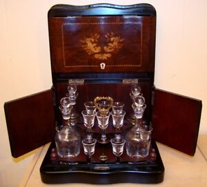 antique coffre bar liqueur Decanter Liquor Box Tantalus de 1852