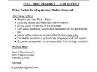 Vacancy FULL/PART TIME Work Available eBay Amazon Order Pick n Pack JOB Urgently Required