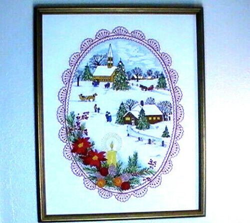 """Winter Holiday Snow Completed Needlepoint Embroidery Cross Stitch 1970s 21""""x18"""""""