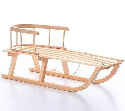 Holzschlitten mit Rückenlehne Schlitten aus Holz + Gratis Zugseil und Bob NEU!