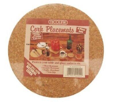 Natural Cork Placemats mats Pack of 4 20cm diameter