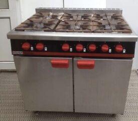 commercial Bartlett Yeoman 6 Burner Gas Range Cooker