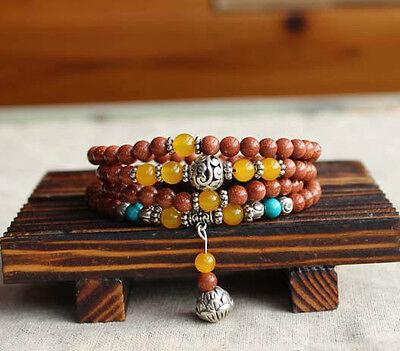 "6mm Tibetan Buddhist 108 Gold Sandstone Prayer Beads Mala Necklace 27"" UK"