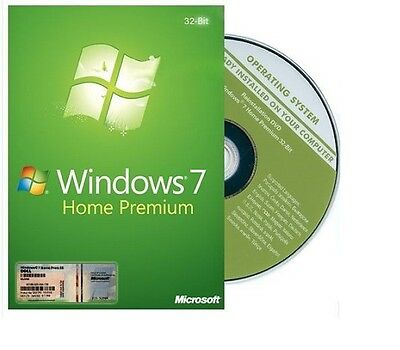 Genuine Windows 7 Home premium SP1 32bit Full Version DVD and Product Key COA