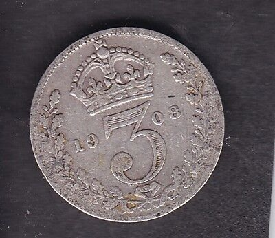 1908 KING EDWARD VII Silver Threepence Collectible Condition CT221
