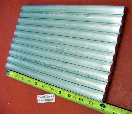 "10 pieces 3/4"" ALUMINUM 6061 ROUND ROD 12"" LONG T6511 .75 Solid Lathe Bar Stock"