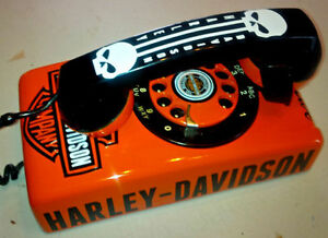 VINTAGE CUSTOM 1-KIND HARLEY DAVIDSON ROTARY WALL MOUNT  PHONE