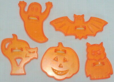 Vintage ORANGE COOKIE CUTTERS Set of 5 Halloween AMSCAN HONG KONG