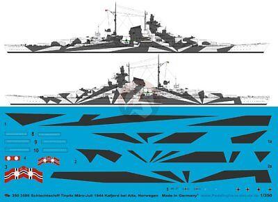 Peddinghaus 1/350 Tirpitz Battleship Markings w/Hull Camo Norway 1944 WWII - Tirpitz Battleship