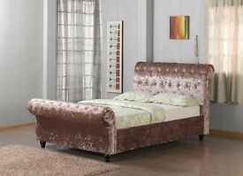 *NEW YEAR EXTREME OFFER**NEW CHESTERFIELD STYLE CRUSH VELVET DOUBLE BED ALL SIZE AVAILABLE SINGLE