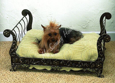 Posh Antique Style BRASS SLEIGH Dog Pet Cat Bed Tole Victorian Ornate Designer