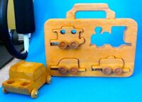Vintage wooden car and train puzzle