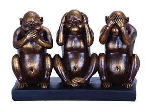 Woodland Imports 6H in. Chimp Speak See Hear No Evil Sculpture