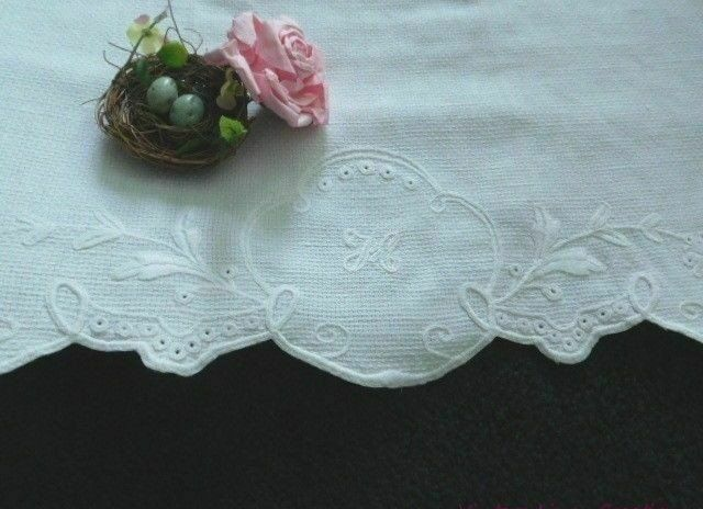 EXQUISITE * * * Antique EUROPEAN HUCK LINEN EMBROIDERED * * * Monogram H * TOWEL