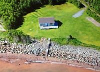 Private oceanfront cottage, large lot.