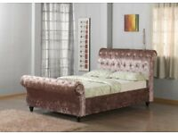 BRAND NEW CRUSHED VELVET CHESTERFIELD SLEIGH BED FRAMES IN DOUBLE / KING SIZE SILVER CARAMEL BLACK..