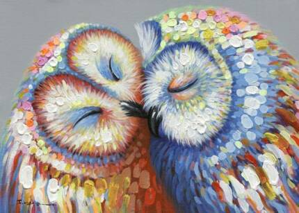 *Kissed Owl Couple* Stretched Canvas Print Picture Hang Wall Art