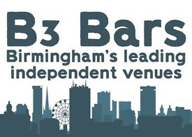 Full and part time bar staff and bar supervisors at Jewellery Quarter venue