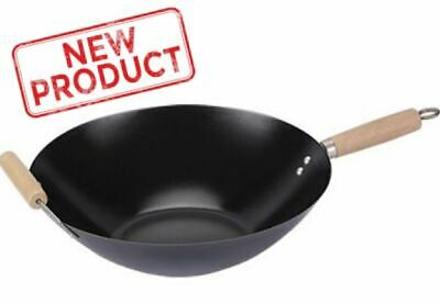 Nonstick Wok Pan 13.75 in Stir Fry Steam Sear Carbon Steel Chinese Food Cooking Carbon Steel Stir Fry Pan