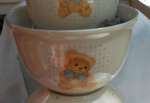 TIENSHAN THEODORE BEAR MIXING BOWL NESTING COUNTRY RARE POPCORN FRUIT