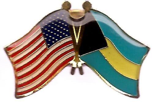 LOT OF 12 Bahamian Friendship Flag Lapel Pins - Bahamas Crossed Country Pin