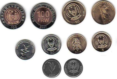 RWANDA: 6-PIECE UNCIRCULATED CURRENT COIN SET, 1 - 100 FRANCS