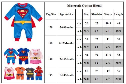 Boy Girl Baby Superman Batman Costume Playsuit Bodysuit Romper Fancy Dress BF14