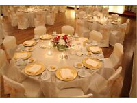 Chair cover rental 79p reception table decor hire £5 crystal globe centrepiece wedding round table r