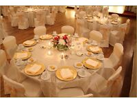 Wedding Head Table Decor London Reception Starlight Backdrop Hire £199 Black Chair Cover Hire 79p @@