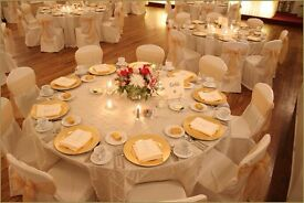 Wedding Reception Table Decoration £5 wedding chair cover hire 79p Cutlery Rental Glass Hire £1.99