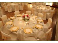 Cream Chair cover hire 79p WEDDING DECOR Hire Martini Vase Centrepiece £9 Table Linen Hire STAGE