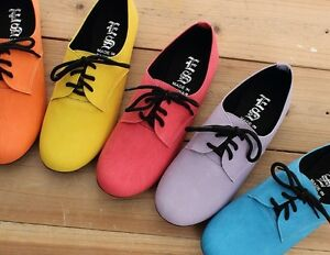 BN-Womens-Lace-Up-Flat-Oxford-Flats-Boots-Shoes-Red-Blue-Yellow-Purple-Orange