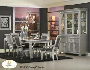 Modern Dining Table Set with 6 chairs in Silver (MA506)
