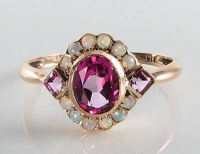 LUSH 9CT 9K ROSE GOLD PINK TOPAZ & OPAL ART DECO INS RING FREE RESIZE ()