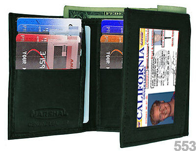 BLACK MEN'S GENUINE LEATHER ID WINDOW 12 CARDS FRONT POCKET