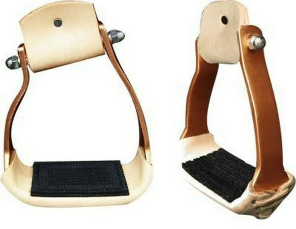 Showman Lightweight Angled Copper Colored Aluminum Leather Tread Stirrups! NEW