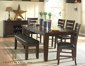 Tudor dining collection, includes 4 chairs and bench, NEW in box