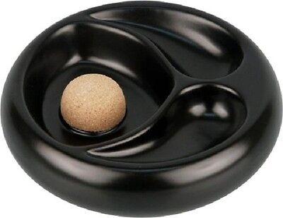 Pfeifenascher Keramik schwarz/matt mit 2 Ablagen Aschenbecher für Pfeifen NEU