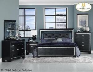 6pcs. Black Queen Bedroom Set | Led Lights Bedroom Set | Elegant Design (MA1103)
