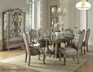SILVER FINISH ANITQUE 7 PC DINING SET (MA367)