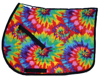 """NEW! """"TIEDYE"""" PSYCHEDELIC ENGLISH JUMPING ALL PURPOSE SADDLE PAD yellow red"""