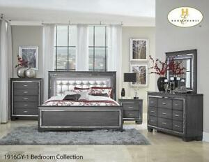 Contemporary King Bedroom Furniture With Led Lights - 6 Pc Set (GL1107)