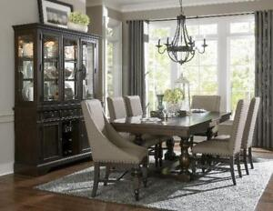 Solid Wood Dining set with nailhead accent Chairs (MA308)