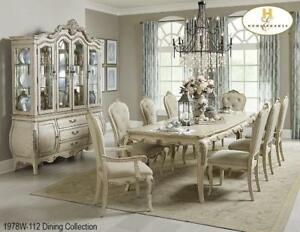 Dining Table Set in White Sand-thru Finish (MA507)