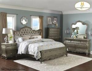 SILVER FINISH ANITQUE 8 PC QUEEN BEDROOM SET (MA368)