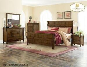 Rustic burnished oak 8pcs. Queen bedroom set (MA411)